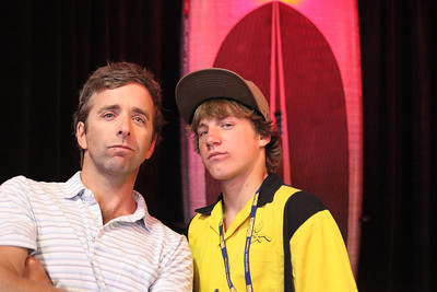 Timmy ONeill with champion kayaker Dane Jackson.  Dane is now also breaking into white water SUP.