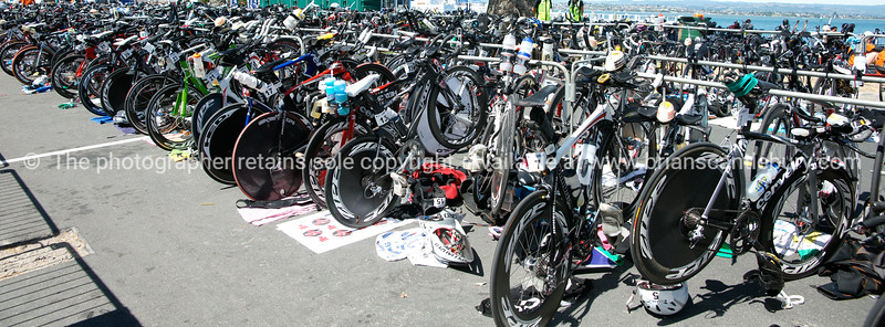 """Bike racks, accessories POT Half Ironman, 2010, Tauranga, New Zealand. Tauranga is New Zealands 5th largest city and offers a wonderfull variety of scenic and cultural experiences. ALSO SEE; <a href=""""http://www.blurb.com/b/3811392-tauranga"""">http://www.blurb.com/b/3811392-tauranga</a>"""