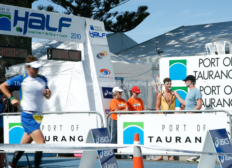 """Port of Tauranga Half Ironman, 2010 winner being interviewed at finish line. POT Half Ironman-10 Tauranga is New Zealands 5th largest city and offers a wonderfull variety of scenic and cultural experiences. ALSO SEE; <a href=""""http://www.blurb.com/b/3811392-tauranga"""">http://www.blurb.com/b/3811392-tauranga</a>"""