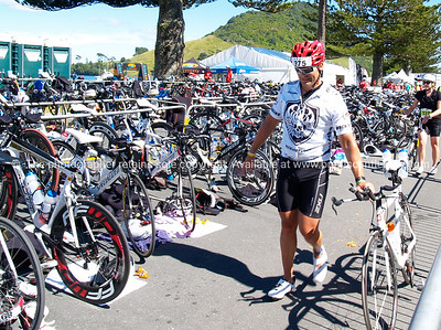 Port of Tauranga Half Ironman, 2011, contestant 975 enters the tranistion area. Tauranga is New Zealands 5th largest city and offers a wonderfull variety of scenic and cultural experiences. ALSO SEE; http://www.blurb.com/b/3811392-tauranga
