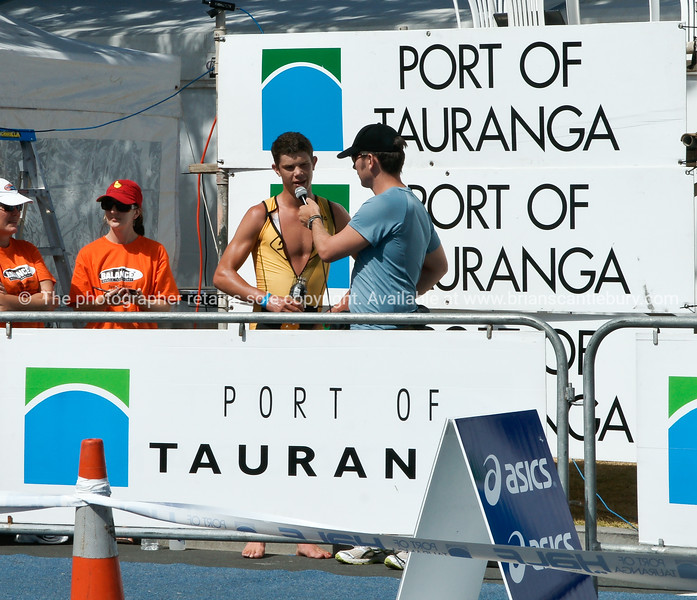 """Mens winner, Michael Poole, being interviewed after 2010 Port of tauranga  Half Ironman-9 Tauranga is New Zealands 5th largest city and offers a wonderfull variety of scenic and cultural experiences. ALSO SEE; <a href=""""http://www.blurb.com/b/3811392-tauranga"""">http://www.blurb.com/b/3811392-tauranga</a>"""