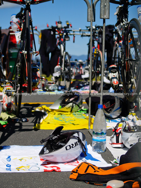 "Port of Tauranga Half Ironman, 2011, gear and cycles in the transition area. Tauranga is New Zealands 5th largest city and offers a wonderfull variety of scenic and cultural experiences. ALSO SEE; <a href=""http://www.blurb.com/b/3811392-tauranga"">http://www.blurb.com/b/3811392-tauranga</a>"