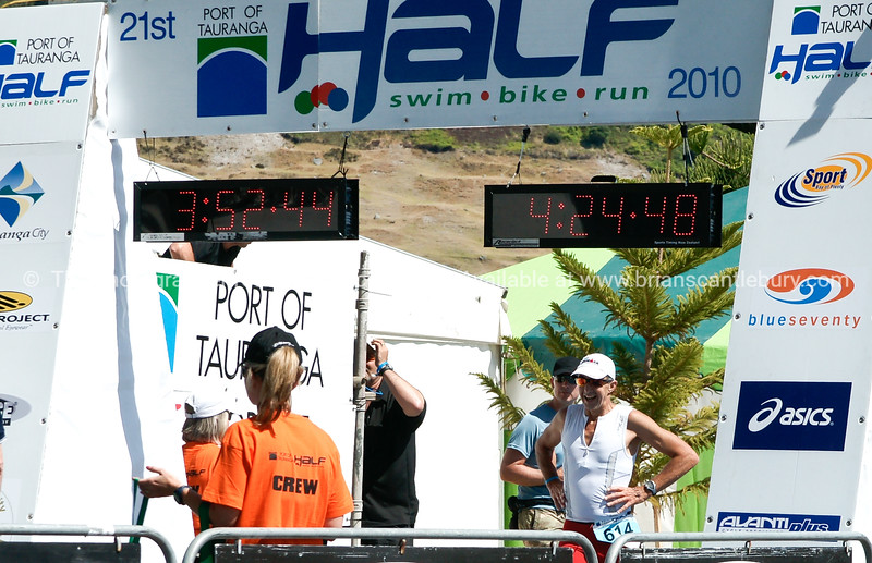 """Contestant approaches the finish line in 2010 Port Of Tauranga Half Ironman, POT Half Ironman-2 Tauranga is New Zealands 5th largest city and offers a wonderfull variety of scenic and cultural experiences. ALSO SEE; <a href=""""http://www.blurb.com/b/3811392-tauranga"""">http://www.blurb.com/b/3811392-tauranga</a>"""