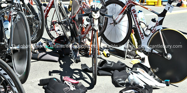 "Bike station close-up, Port of Tauranga Half Ironman-7. Tauranga is New Zealands 5th largest city and offers a wonderfull variety of scenic and cultural experiences. ALSO SEE; <a href=""http://www.blurb.com/b/3811392-tauranga"">http://www.blurb.com/b/3811392-tauranga</a>"