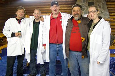 The U.W. Carbone Cancer Center research talent out of Avtar Roopra's lab. L -> R: Ryan Miller, Lucas Tomko, Barry Schoenike, Dirtball Biker, and Kearny Gunsalas.