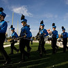 Record-Eagle/Keith King<br /> Members of the Kalkaska High School marching band prepare for their turn Monday, October 10, 2011 to perform in the annual Thirlby High School Marching Band Exhibition at Thirlby Field. Eighteen regional high schools took part in the event.