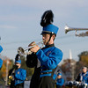 Record-Eagle/Keith King<br /> Nathan Weeter plays the trumpet as the Kalkaska High School marching band performs Monday, October 10, 2011 during the annual Thirlby High School Marching Band Exhibition at Thirlby Field. Eighteen regional high schools took part in the event.