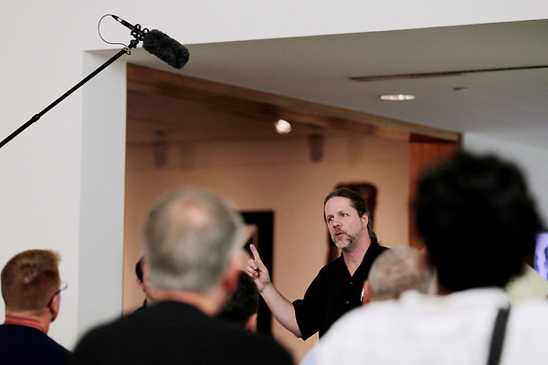 """Record-Eagle/Keith King<br /> David Missall, with Sennheiser, talks Wednesday, July 27, 2011 during a Traverse City Film Festival film school titled, """"Audio Production for Film,"""" at the Dennos Museum Center."""