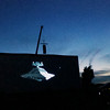 """Record-Eagle/Jan-Michael Stump<br /> """"The Empire Strikes Back,"""" plays on the 100-foot wide screen at the Open Space during the Traverse City Film Festival."""
