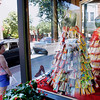 Record-Eagle/Jan-Michael Stump<br /> Movie theater snack-inspired dresses, such as this one made from candy boxes, by Ginelle Dekker sit on display in the window of What To Wear in downtown Traverse City during the Traverse City Film Festiva.