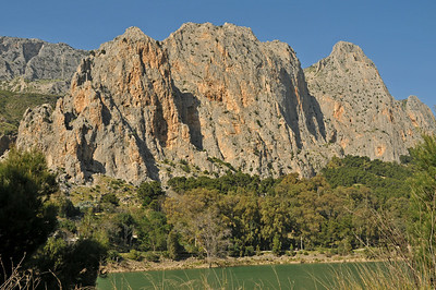 El Chorro - view of Sector Frontales from the other side of the reservoir