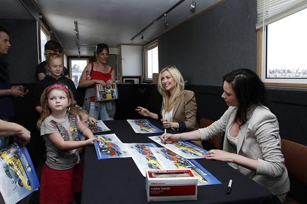 Gemma Merna (Carmel Valentine from Hollyoaks) and Lucy Pargeter (Chastity Dingle from Emmerdale) signing autographs