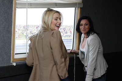 Gemma Merna (Carmel Valentine from Hollyoaks) and Lucy Pargeter (Chastity Dingle from Emmerdale) watchg the Jet Car go by
