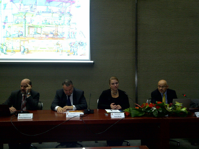 Book launch of 'Uvod u upravljanje internetom', the Serbian/BCS translation of 'An Introduction to Internet governance'. On the panel (from left): Nenad Marinkovic, director of the Serbian ccTLD (RNIDS), Milan Jankovic, Director of Serbian Regulatory Agency for Electronic Communications RATEL, Jasna Matic, State Secretary for Digital Agenda of Serbia, and Dr Jovan Kurbalija, DiploFoundation director and author of the book. The event took place during the 19th Serbian Telecommunications Forum (Telfor), in Belgrade, on 22 November 2011
