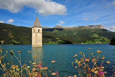 Clock tower in the Reschensee
