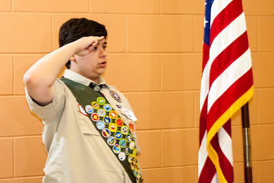 Boy Scouts Austin Peterson (pictured) and Chase Holub presented the colors at Friday's dedication of Herman Little Park.