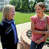 "Elite runners, Deena Kastor, left, and Sara Slattery, share a laugh before the media lunch on Saturday.<br /> For two videos and more photos of Bolder Boulder lunch, go to  <a href=""http://www.dailycamera.com"">http://www.dailycamera.com</a>.<br /> Cliff Grassmick / May 26, 2012"