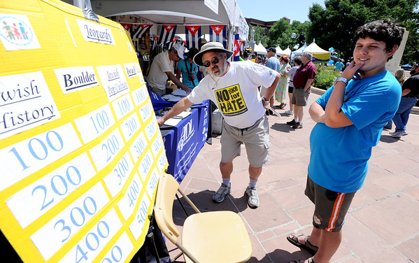 "Jerry Pinsker, left, asks questions of Ariel Shlosberg during a game of ""Jeopardy"" at the Boulder Jewish Festival on Sunday.<br /> For more photos and a video of the festival, go to    <a href=""http://www.dailycamera.com"">http://www.dailycamera.com</a>.<br /> Cliff Grassmick / June 10, 2012"