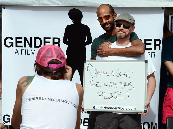 "Michael Stubblefield, left, and Brian Burfield, both of Denver, have their photo taken by the Gender Bender Movie group on Sunday.<br /> The Boulder PrideFest is a celebration of all the LGBTQ people in the Boulder community.<br /> For more photos and a video of the festival, go to  <a href=""http://www.dailycamera.com"">http://www.dailycamera.com</a>.<br /> Cliff Grassmick  / September 16, 2012"
