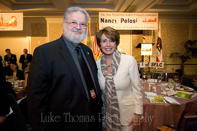 UESF President Dennis Kelly and Nancy Pelosi.