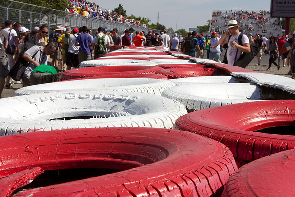 Fans were allowed to walk the track at Le Circuit Gilles-Villeneuve after the race. Here's tire wall in the runoff area at the hairpin.