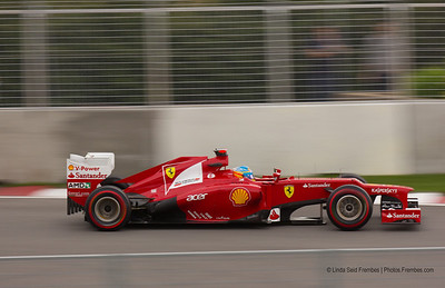 Fernando Alonso of Ferrari during a practice session in Montreal.