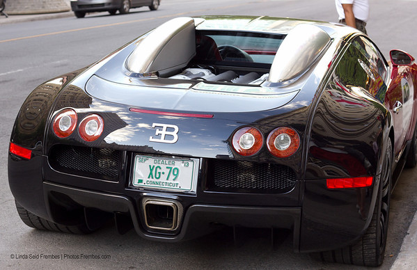 Back view: A $1+ million Bugatti Veyron supercar parked in the street in Montreal.