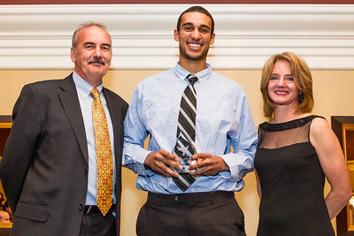 Ed Kane and Jennifer Brenning present Male Outstanding Athlete of the Year Award to Philip Scrubb
