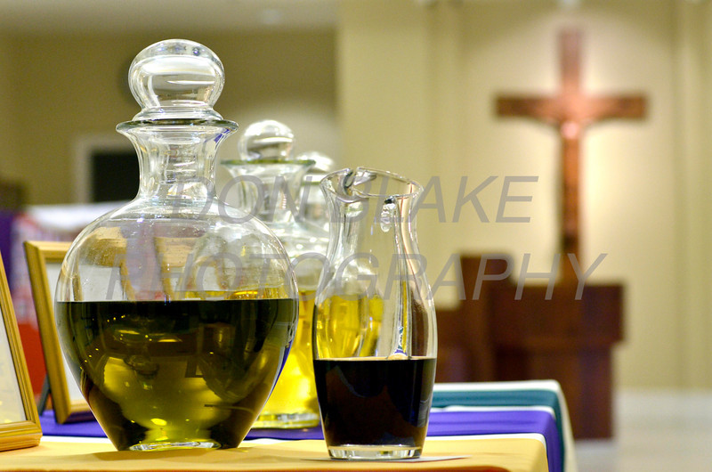 The sacred Chrism Oil and balsam are displayed before the Chrism Mass at Holy Cross Church in Dover, Del., Monday, April 2, 2012. photo/www.DonBlakePhotography.com