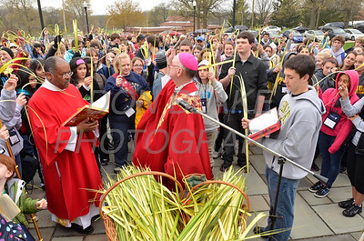 Bishop Francis Malooly blesses palms before mass at St. Elizabeth Church, Wilmington, Del. photo/ www.DonBlakePhotography.com