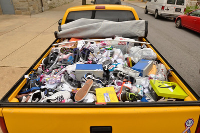 A truck load of shoes were donated during the 2012 Cross Pilgrimage March 31, 2012. photo/ www.DonBlakePhotography.com