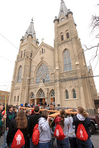 Participants to leave St. Hedwig Church in route to St. Elizabeth Church in Wilmington, Del., during the 2012 Cross Pilgrimage March 31, 2012. photo/ www.DonBlakePhotography.com