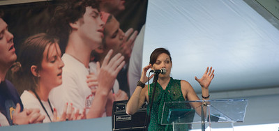 Sarah Kroger, a youth ministry core team member and worship leader at Holy Name of Jesus Church, Indialantic, Fla., speaks at the Excite! Youth Track.    (Photo by Thomas Spink/Archdicese of Atlanta)  (Page 18, June 21, 2012 issue)