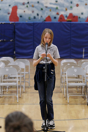 Record-Eagle/Keith King<br /> Maggie Oliver of Grand Traverse Academy uses her hand to spell a word out Wednesday, February 15, 2012 during the 2012 Grand Traverse County Spelling Bee at the Grand Traverse Academy.