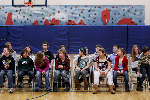 Record-Eagle/Keith King<br /> Participants wait there turn Wednesday, February 15, 2012 during the 2012 Grand Traverse County Spelling Bee at Grand Traverse Academy.