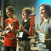 Globe/Roger Nomer<br /> (from left) Nash Kreitlein, second place, David Green, third place, and Taylor Mailes, winner, pose for photos after the 2012 Spelling Bee.
