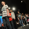 Globe/Roger Nomer<br /> Michael Jones, a sixth grader from Lamar Middle School, correctly spells a word during Wednesday's Spelling Bee.