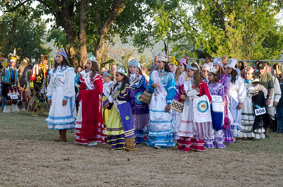 Beautiful Choctaw ladies participate in pow wow grand entry.
