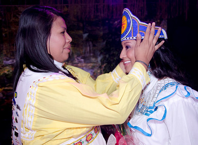 Miss Choctaw Nation 2011-12 Amber Tehauno passes the crown to incoming Miss Choctaw Nation Cheyenne Murray.
