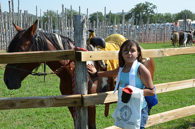 Amy Pauley of Tulsa enjoys petting one of the Choctaw horses.