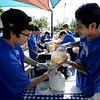 "Jose Espin, left, and Gabriel Antunez, were among the Centaurus High School soccer players making peach smoothies  during the Lafayette Peach Festival on Saturday.<br /> For more photos and a video from the Peach festival, go to  <a href=""http://www.dailycamera.com"">http://www.dailycamera.com</a>.<br /> Cliff Grassmick  / August 18, 2012"