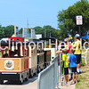 A line forms for the trackless train on July 14 during the second annual Lumberjack Festival. • Katie Dahlstrom/Clinton Herald