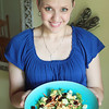 Record-Eagle/Keith King<br /> Sandra Umstead, of Traverse City, holds a salad she made using spinach, cucumber, crushed pretzels, carrots, honey dijon dressing and dried cherries Friday, July 6, 2012 at her home.