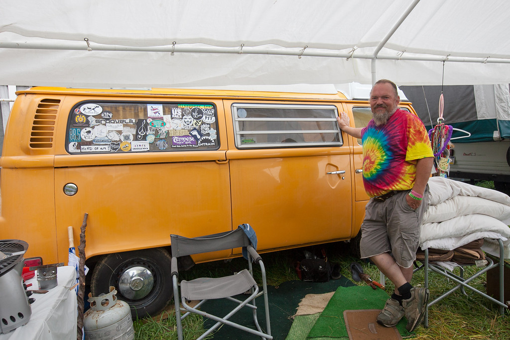 There were quite a few vintage camping vehicles onsite including this 1974 VW pop top camper. (Howard Pitkow/for Newsworks)