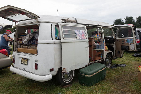 A well worn vintage VW camper gets ready to head home on Monday morning. (Howard Pitkow/for Newsworks)