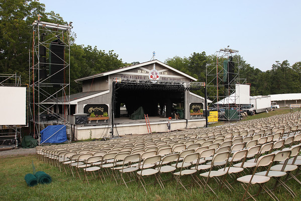 Main stage reserved seating chairs being set up for the Friday concert. (Howard Pitkow/for Newsworks)