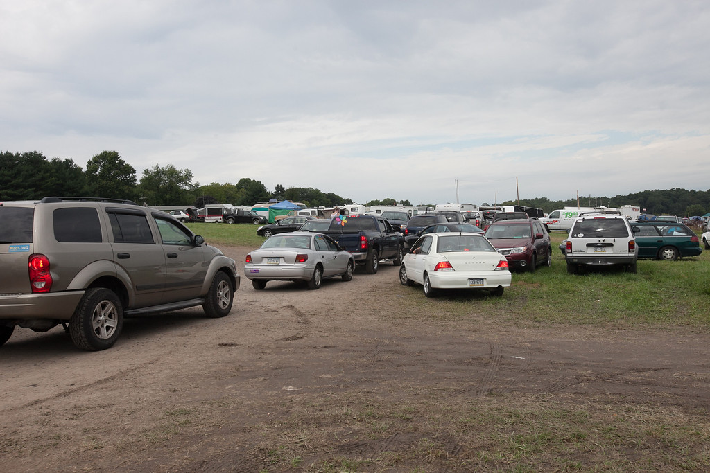 Monday morning exodus from the parking lot. (Howard Pitkow/for Newsworks)