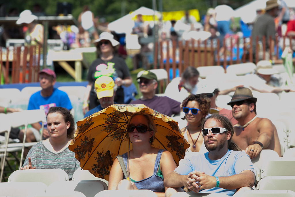 Keeping the sun off while watching the afternoon concert. (Howard Pitkow/for Newsworks)