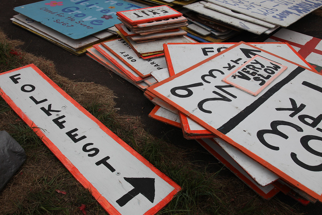 Festival road signs ready to be placed. (Howard Pitkow/for Newsworks)