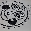 Folk Festival banjo logo at camping headquarters. (Howard Pitkow/for Newsworks)